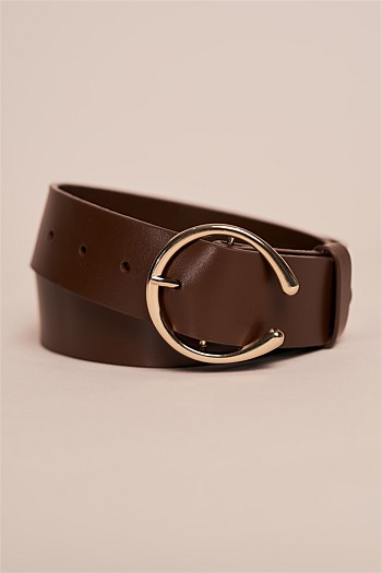 Circle Leather Buckle Belt