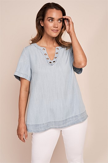 Tencel Eyelet Top