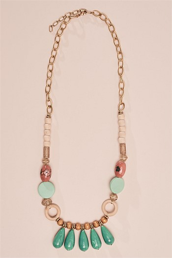 Droplets and Cloisonne Bead Necklace