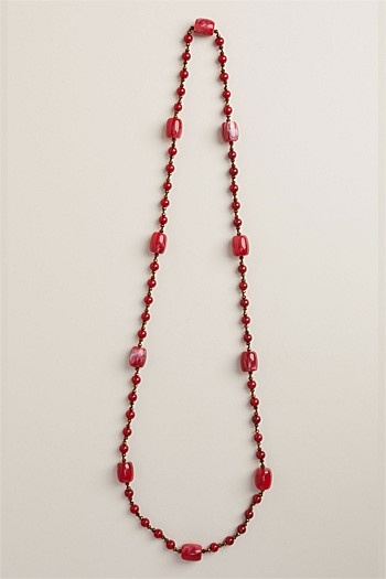 Ruby Glass Barrel Bead Rope Necklace