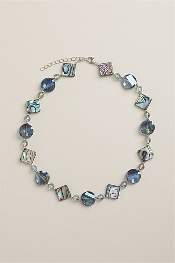 Petrol Blue Abalone Shell Necklace