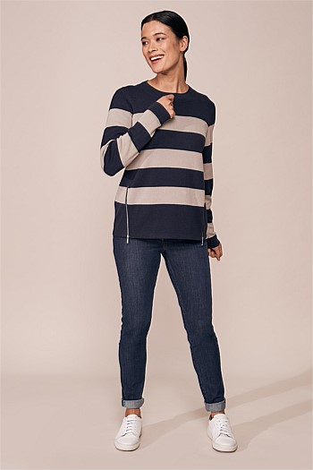 Zip Detail Stripe Knit