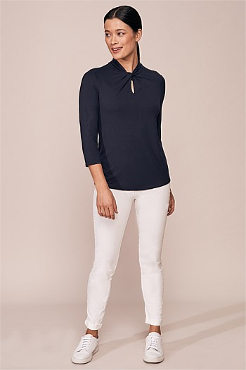 Neck Twist Jersey Top