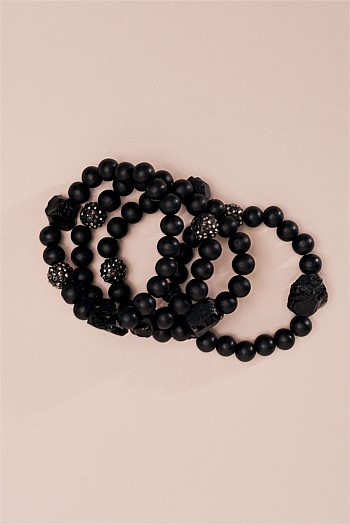 Matte Black Shambala Stretch Bracelets