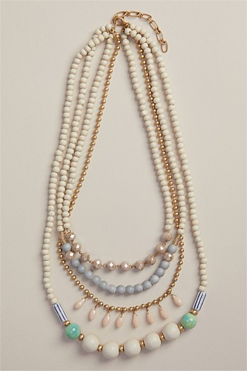 Long Mint Statement Multi Row Necklace