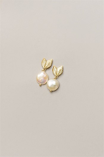 Gold Leaf Pearl Drop Earrings