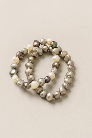 Grey Pearl Stretch Two Rows Bracelet