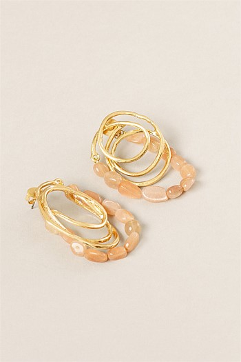 Quartz and Metal Loop Earring