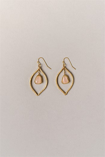 Tear Drop Rose Quartz Earrings