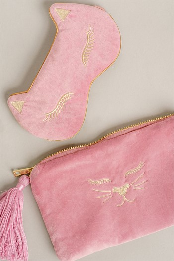 Velvet Pink Eye Mask and Purse