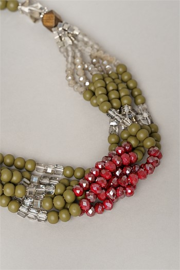 Twist Olive Multi Beaded Necklace