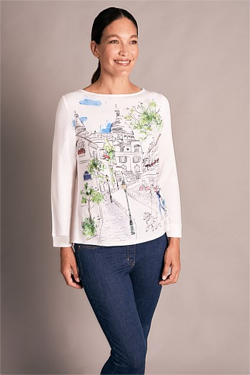 French Scene Print Top