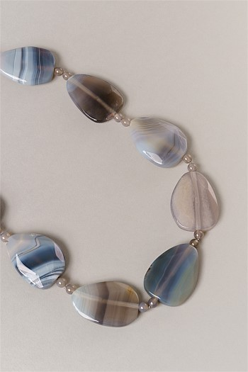 Grey Agate Chunky Rope Necklace