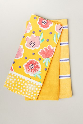 Yellow Villa Bloom Tea Towel