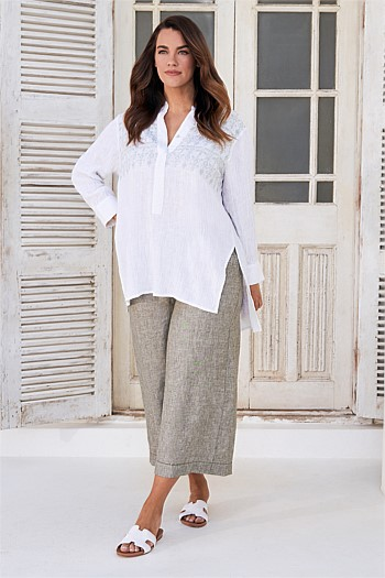 Linen Embroidered Kaftan
