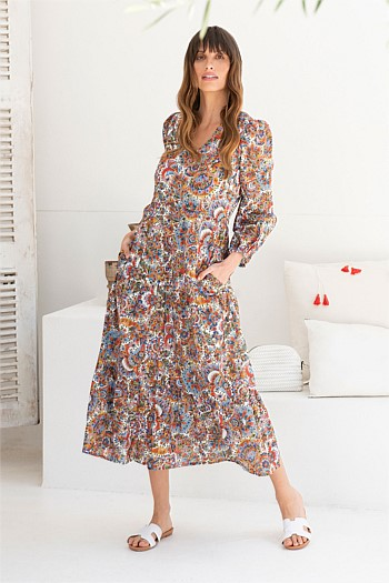 Paisley Cotton Tiered Dress