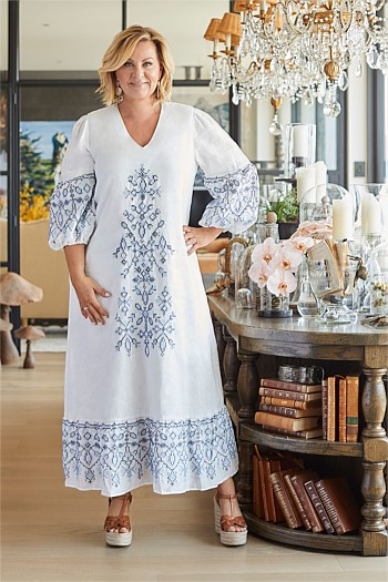 Embroidered Puff Sleeve Dress