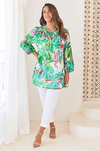 Pleated Silk Blend Kaftan