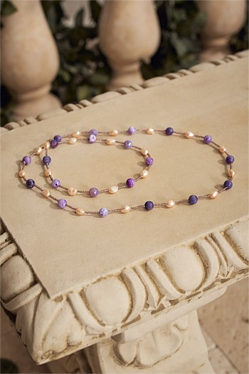 Lilac Bead Freshwater Pearl Necklace