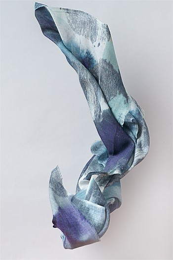 Inky Textural Brushed Wool Scarf