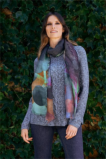 Abstract Geo Spot Wool Scarf