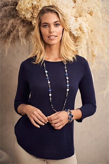 Navy Mini Shell and Disk Rope Necklace