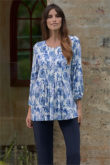 Blue Paisley Print Top