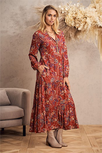 Tier Paisley Maxi Dress